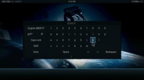 Aeon Nox graphical interface for Kodi onscreen keyboard