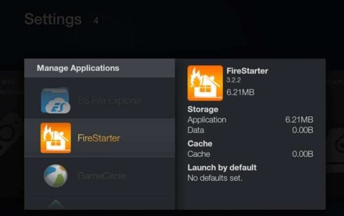 Launch FireStarter on Fire TV