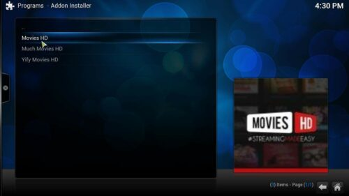 Movies for Kodi streaming addon