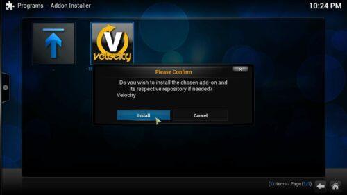 Get Velocity for Kodi Install