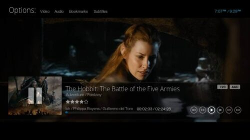 Kodi Bello GUI Playback menu