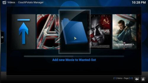 Install Kodi CouchPotato Manager movies