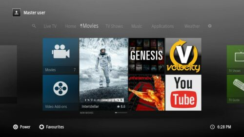 Kodi 1080XF Skin menu