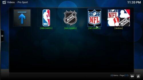 Kodi Pro Sport Addon content