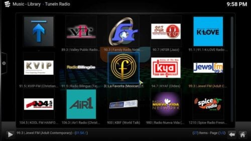 Kodi TuneIn Radio Addon content