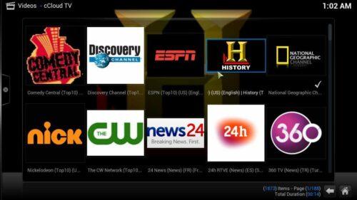 Kodi cCloud TV addon content