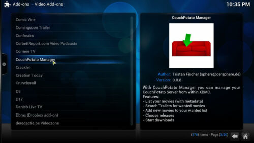 Couch Potato Manager Setup addon