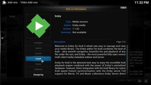 Connect Kodi to Emby install