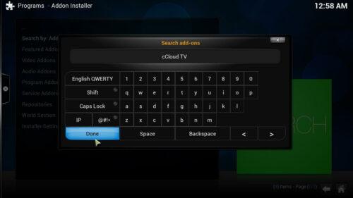 Add cCloud to Kodi search