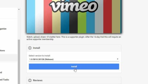 Setup Vimeo on Emby install