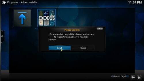 Exodus Kodi movies addon confirm