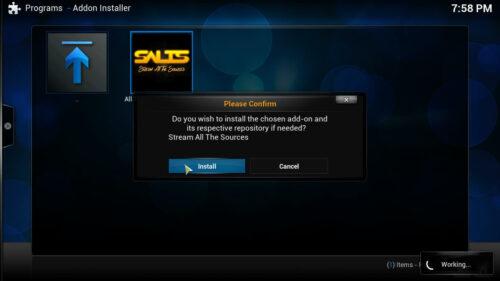 Install Kodi SALTS confirm