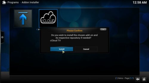 cCloud TV Kodi plugin install