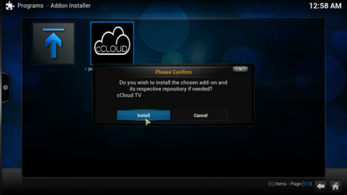 cCloud TV Kodi plugin install