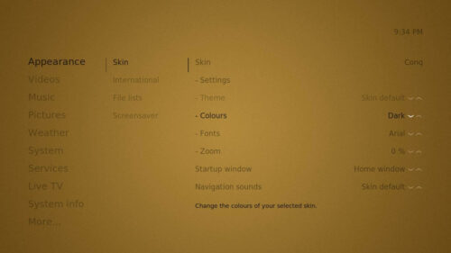 Kodi Conq interface settings