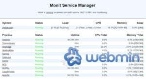 Monit and Webmin configuration