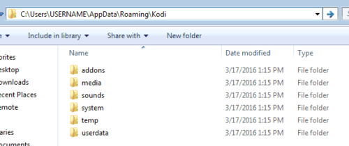 Kodi User Data Folder on Windows