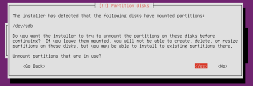 Ubuntu Server Partitioning - Unmount Existing Partitions