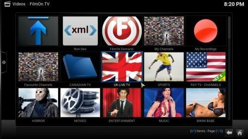 FilmOn TV Kodi Addon content