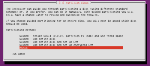 Ubuntu Server Partitioning Scheme - Manual Partitioning
