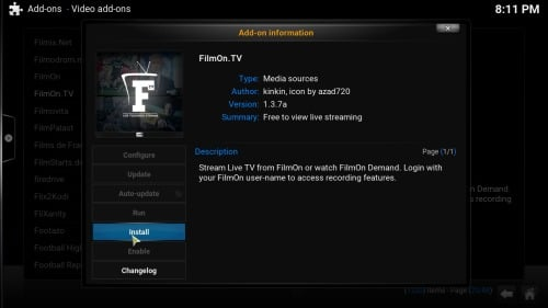 Install FilmOn TV Addon button