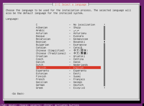 Setup Ubuntu Home Server 16.04 - Os Language