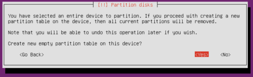 Ubuntu Server Partition Scheme - Create New Partition Table