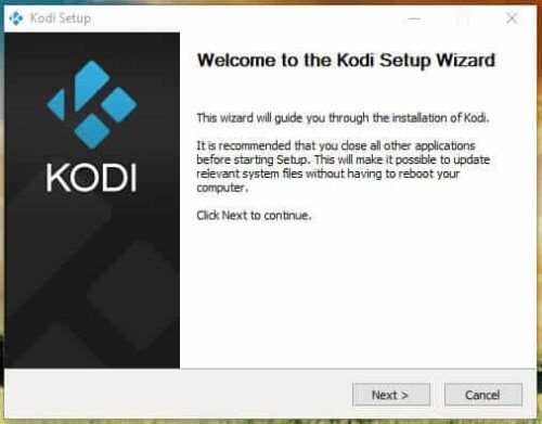 Kodi Windows Installation wizard