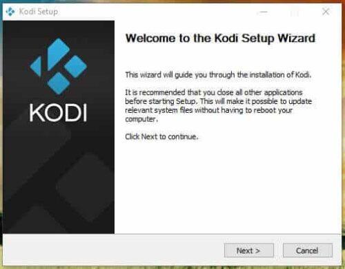 Kodi Windows Installation wizard