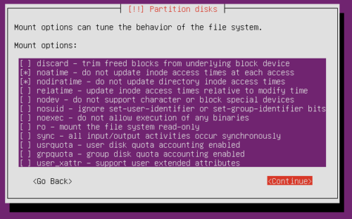 Ubuntu Partition - Set noatime nodiratime for Partitions