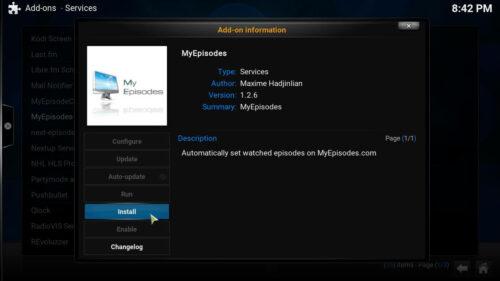 Install Kodi MyEpisodes button