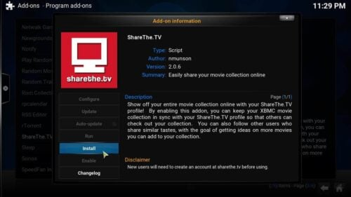 Install Kodi ShareThe TV confirm