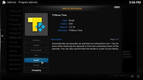 Install Kodi TVShow Time button