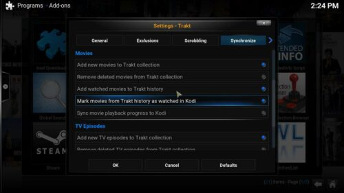 How to use Trakt options