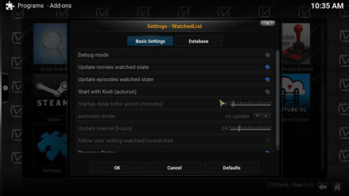 Kodi WatchedList complement basic settings