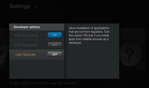 Amazon FireTV - Enable Install from Unknown Sources