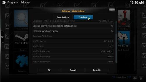Kodi WatchedList database selection