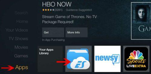 ES File Explorer in Fire TV Apps Menu