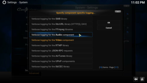 Enable Kodi Logging verbose