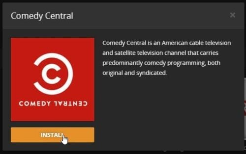 Install Comedy Central Plex confirm