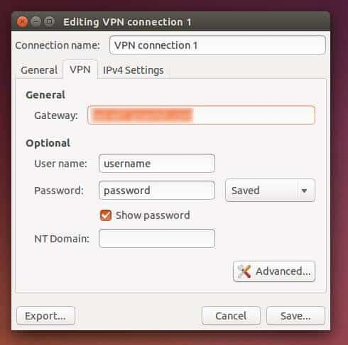 IPVanish Ubuntu settings login