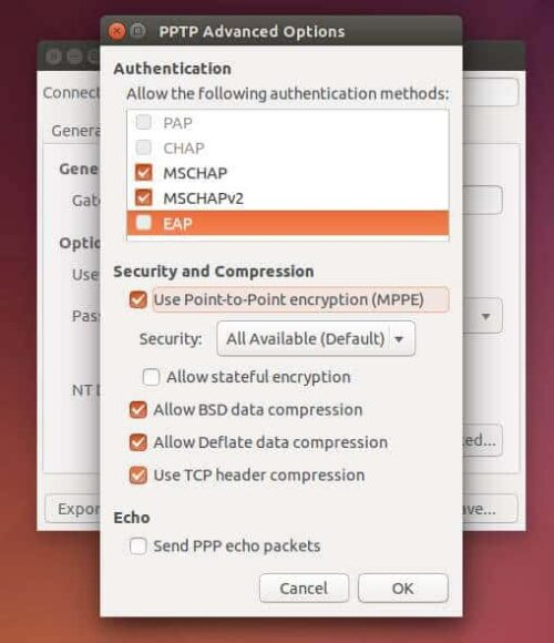 Ubuntu VPN Advanced Settings config
