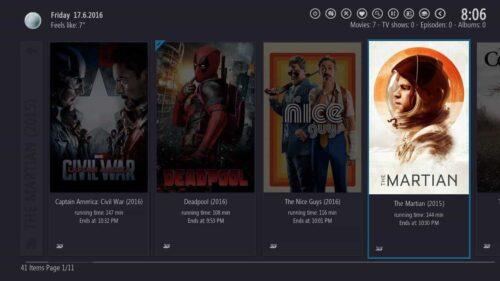 Kodi interface Destiny plugin posterlist