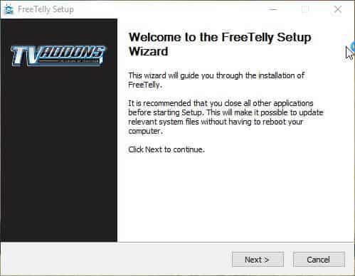Setup FreeTelly on Windows installer