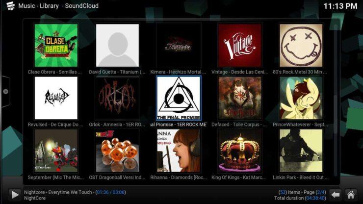 Kodi SoundCloud Addon content