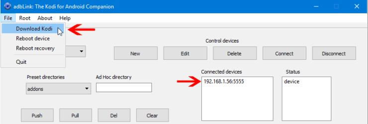 Download Kodi Using adbLink