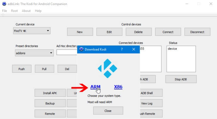 Download Kodi ARM for Fire TV with adbLink
