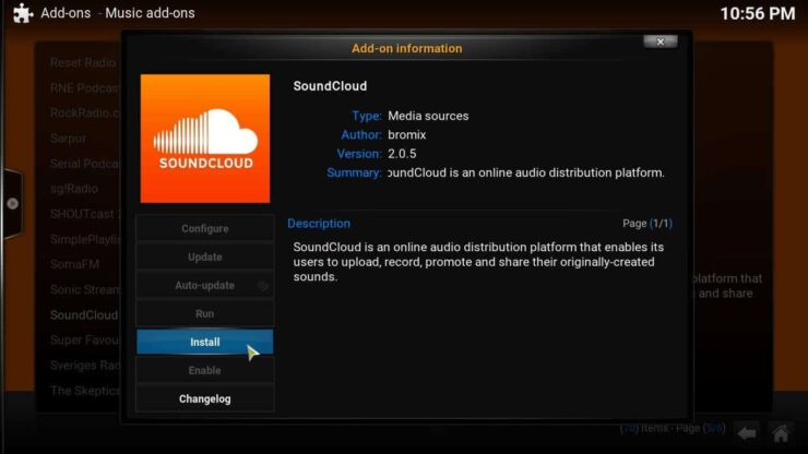 install SoundCloud on Kodi button