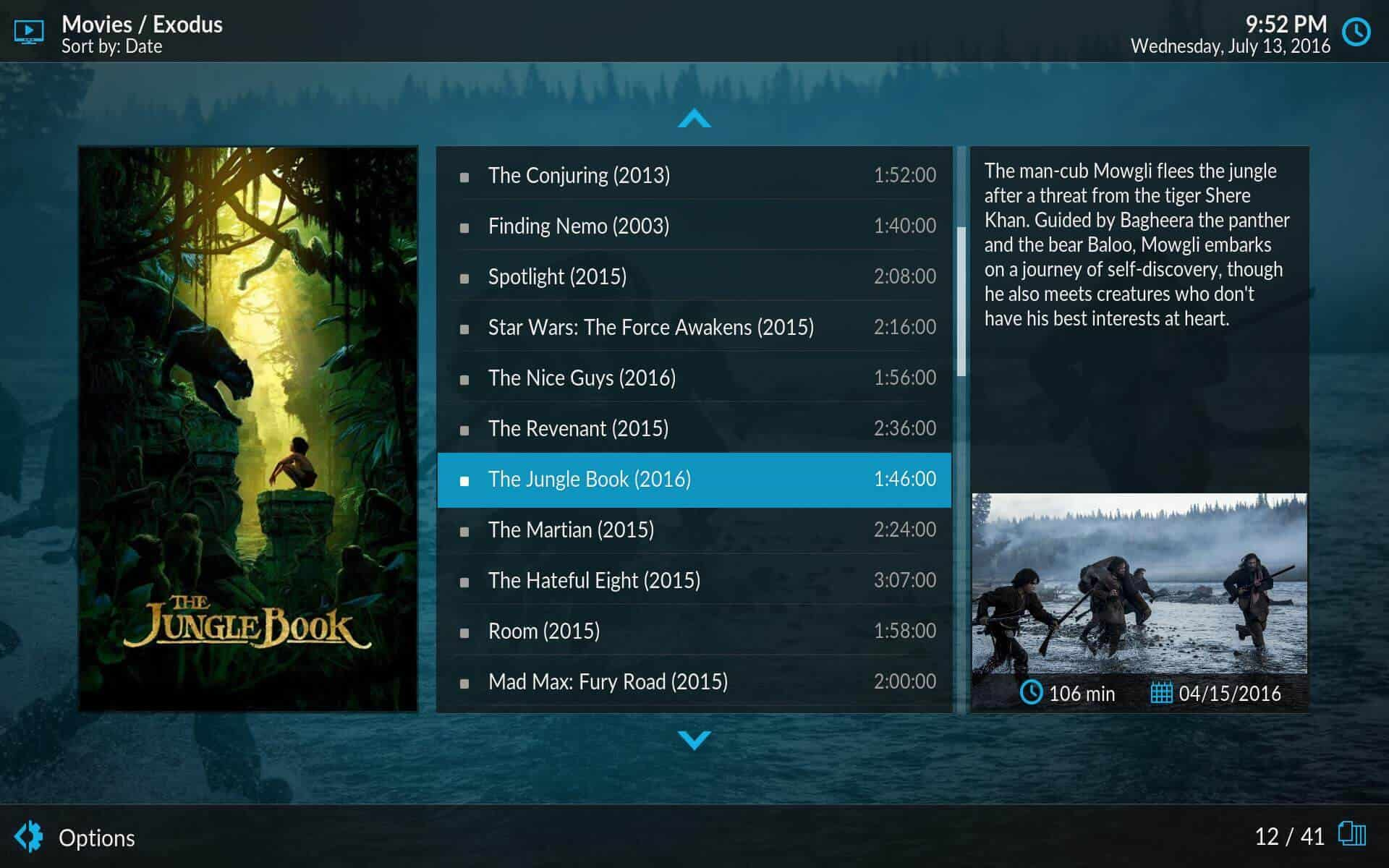 Kodi Estuary Plugin list
