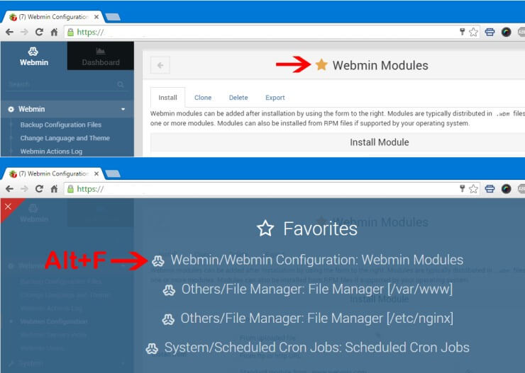 Webmin Hacks - Create Webmin Favorites
